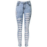 Allonly Women's Destroyed Skinny Fit Stretch High Waisted Ripped Jeans Pencil Pants with Broken Holes - Pants - $29.99