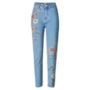 Allonly Women's Fashion Regular Fit High Waisted Flower Embroidered Jeans Pencil Pants - Pants - $34.99