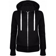 Allonly Women's Hooded Solid Color Fleeces Zip-Up Jacket Coat Sweathershirt - Outerwear - $8.99