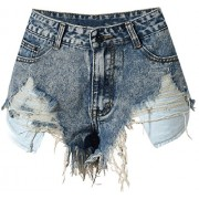 Allonly Women's Sexy Cut Off Destroyed Ripped High Waisted Slim Fit Denim Shorts Jean Shorts Hot Pants with Holes and Fringe - Shorts - $19.99
