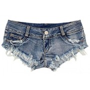 Allonly Women's Sexy Cut Off Destroyed Ripped Micro Stretch Low Rise Mini Denim Shorts Cheeky Jean Short Hot Pants - Shorts - $8.99