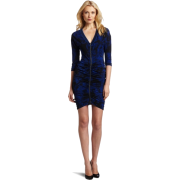 BCBGMAXAZRIA Women's Autumn V-Neck Gathered Dress Blue Sapphire Combo - Dresses - $158.00