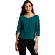BCBGMAXAZRIA Women's Marlene Studded Sleeve Top Jewel Green - Top - $278.00