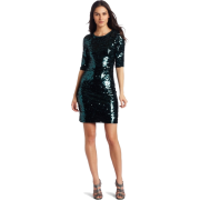 BCBGMAXAZRIA Women's Marta 3/4 Sleeve Sequin Dress Deep Jade Combo - Dresses - $338.00