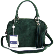 BRUNO ROSSI Italian Green Suede & Leather Convertible Shoulder Bag Handbag Purse - Hand bag - $479.00