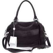 BRUNO ROSSI Italian Made Black Leather and Suede Convertible Handbag - Hand bag - $479.00