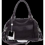 BRUNO ROSSI Italian Made Black Leather and Suede Convertible Handbag - Bolsas pequenas - $479.00  ~ 411.41€