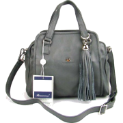 BRUNO ROSSI Italian Shoulder Bag Handbag Purse in Gray Leather - Hand bag - $469.00