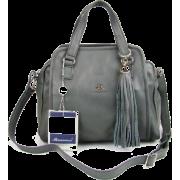 BRUNO ROSSI Italian Shoulder Bag Handbag Purse in Gray Leather - Bolsas pequenas - $469.00  ~ 402.82€