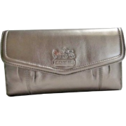 Coach Gunmetal Leather Madison Checkbook & Wallet Case 44378 - Portfele - $189.00  ~ 162.33€