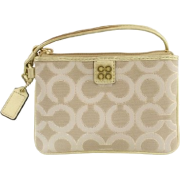 Coach Julia Op Art Small Wristlet Light Khaki Beige Gold - Portfele - $46.99  ~ 40.36€