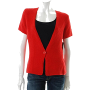 Jones New York Collection Cardigan Red Textured Sale Misses Sweater S - Vests - $89.00