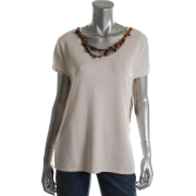 Jones New York Collection Surabaya Pullover Sweater Beige BHFO Embellished Misses S - T-shirts - $89.00