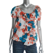 Karen Kane Knit Top Printed BHFO Ruffled Misses Shirt XS - Top - $98.00