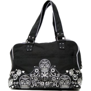 Loungefly Day of the Dead Sugar Skull Embroidered Light Black and Silver Purse - Bag - $60.00