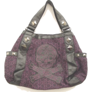 Loungefly Purple Tweed Sugar Skull Large Satchel Handbag - Bag - $65.95