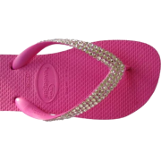 SWAROVSKI CRYSTAL HAVAIANAS SANDALS THONGS, FLIP FLOPS HOT PINK/CLEAR U.S. SIZES 4-10 - 休闲凉鞋 - $64.99  ~ ¥435.45