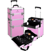 Shany Pink Snake Skin Rolling Makeup Case with Wide Trays, Premium Collection, 12 Pound - Cosmetics - $149.95