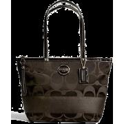 Signature Stripe Sateen Tote / Bag / Purse Brown F18037 - Bag - $235.00