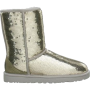 UGG Australia Women's Classic Sparkle Short Boots Footwear Silver - Boots - $167.00