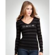 bebe Logo Studded V-Neck Sweater Black - Cardigan - $59.00