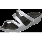 crocs Women's Patricia Sandal Silver/Black - Sandals - $23.97