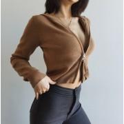 American retro sports style short double zip long sleeve slim hoodie sweater coa - Pullovers - $29.99