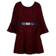 Amy Byer Girls' Belted Allover Lace Bellsleeve Dress - Dresses - $26.48