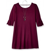 Amy Byer Girls' Big 3/4 Sleeve Swing Dress with Back Detail - Dresses - $22.46