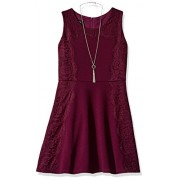 Amy Byer Girls' Big Knit Fit and Flare with Lace Trim - Dresses - $27.86