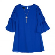 Amy Byer Girls' Big Tie Sleeve Sheath Dress and Necklace - Dresses - $26.99