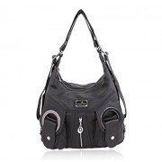 Angelkiss Purses and Handbags Women's Washd Soft PU Leather Handbag for Ladies(Black) - Borsette - $50.30  ~ 43.20€