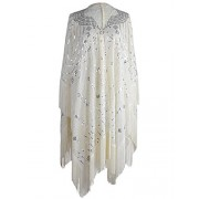 Anna-Kaci Women Oversize Hand Beaded Fringed Sequin Evening Shawl Wrap Cover Up - Accessories - $59.99