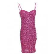 Anna-Kaci Womens Adjustable Strap Sequin Sleeveless Bodycon Mini Party Dress Pink - Vestidos - $44.99  ~ 38.64€