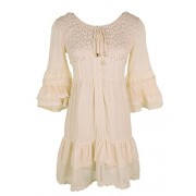 Anna-Kaci Womens Boho Peasant Floral Lace Ruffle Hem Bell Sleeve Mini Dress - Vestidos - $49.99  ~ 42.94€