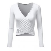 Anna-Kaci Women's Criss Cross Wrap V Neck Reversible Slim Fit Long Sleeve Crop Top - Camisa - curtas - $29.99  ~ 25.76€