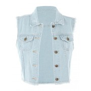 Anna-Kaci Womens Distressed Denim Button Up Sleeveless Crop Vest - Outerwear - $39.99  ~ 34.35€