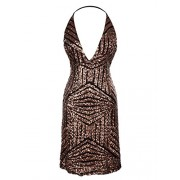 Anna-Kaci Womens Sexy Sequin Halter Backless Bodycon Cocktail Party Club Dress Bronze - Vestidos - $54.99  ~ 47.23€