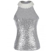 Anna-Kaci Womens Silver Sequin Embellished Pearl and Lace Collar Top, Silver, X-Small - Camisa - curtas - $39.99  ~ 34.35€