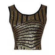 ea4bc959430118 Anna-Kaci Womens Sparkle Stripe Front Sequin Slim Fit Cropped Vest Tank Tops  Gold -