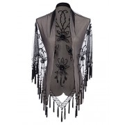 Anna-Kaci Womens Tassel Fringe Beaded Floral Embellished Shawl Cover Up Cardigan - Camisa - curtas - $33.99  ~ 29.19€