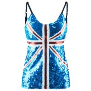 Anna-Kaci Womens Union Jack Flag Sequin Slim Adjustable Spaghetti Strap Tank Top - Camisa - curtas - $34.99  ~ 30.05€