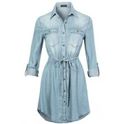 Anna-Kaci Womens Waist Ties Long Sleeves Short Denim Chambray Jean Shirt Dress - Vestidos - $32.99  ~ 28.33€