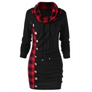 Asskdan Women's Cowl Neck Long Sleeve Plaid Drawstring Button Ruched Hoodie Dress Tunic Sweatshirt - Vestiti - $30.99  ~ 26.62€