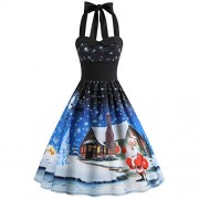Asskdan Women's Retro Vintage Christmas Dress Halter Neck Bandage Rockabilly Xmas Print Dress Cocktail Prom Dresses - Vestiti - $29.99  ~ 25.76€