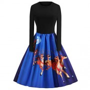 Asskdan Women's Vintage Xmas Dress Patchwork Flare A-Line Dress Santa Claus Reindeer Print Dress - Vestiti - $29.99  ~ 25.76€
