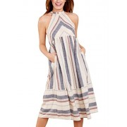 Asvivid Women's Sleeveless Halter Neck Striped Midi Dress with Pockets - Dresses - $39.99