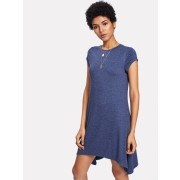 Asymmetric Hem Shift Dress - Dresses - $12.00