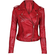 Asymmetrical Bikers Womens Red Leather Jacket - Jacket - coats - 223.00€  ~ $259.64