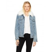Avec Les Filles Women's Denim Trucker Jacket With Detachable Faux Fur Lining - Outerwear - $42.87